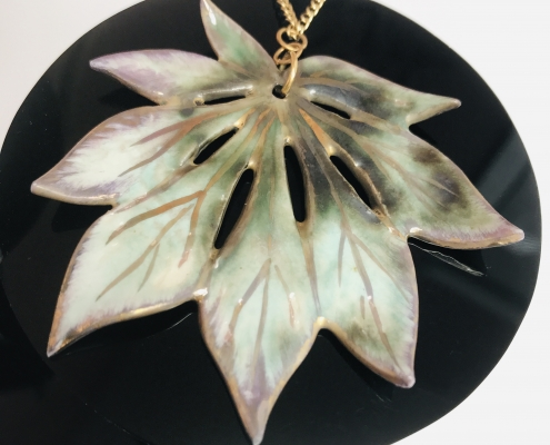 Maple Leaf Pendant Jewellery by Sonya Ceramic Art