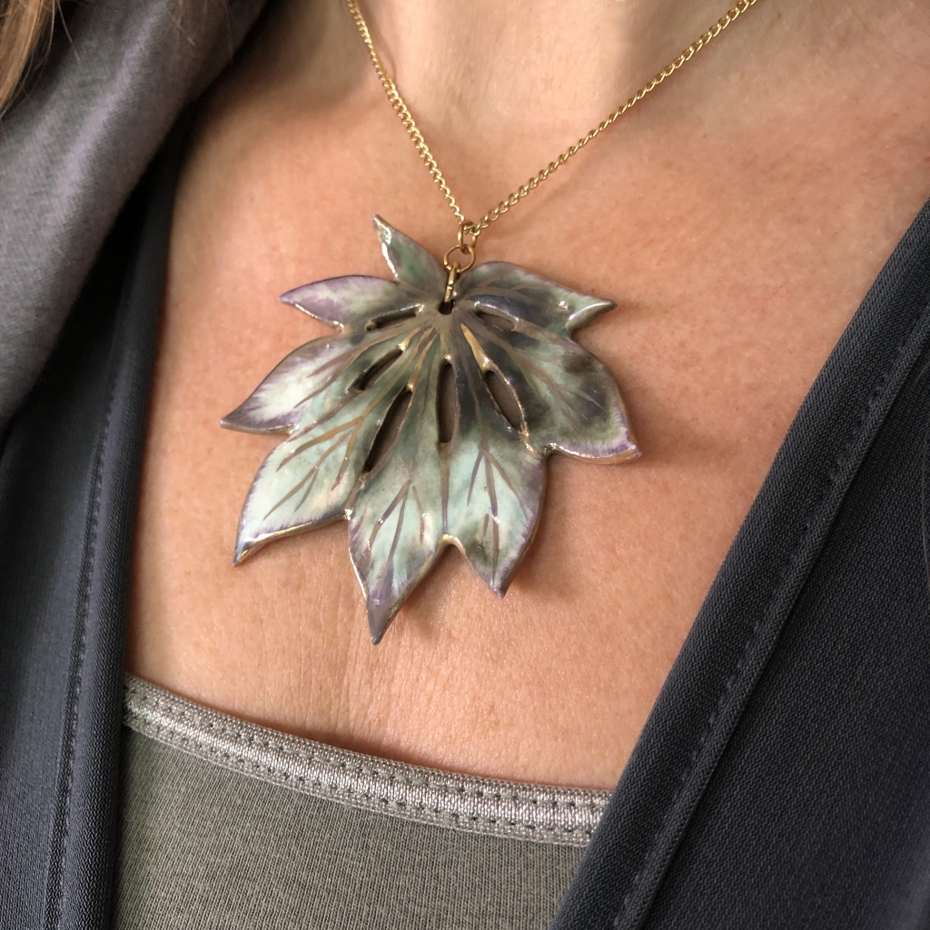 Maple Leaf Pendant by Sonya Ceramic Art Ceramics Inspired By Nature