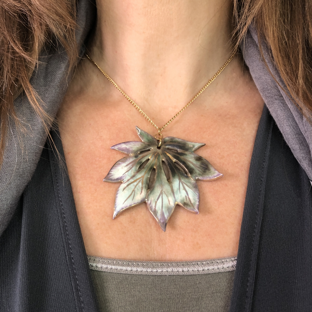 Ceramic Pendant by Sonya Ceramic Art Maple Leaf Jewellery