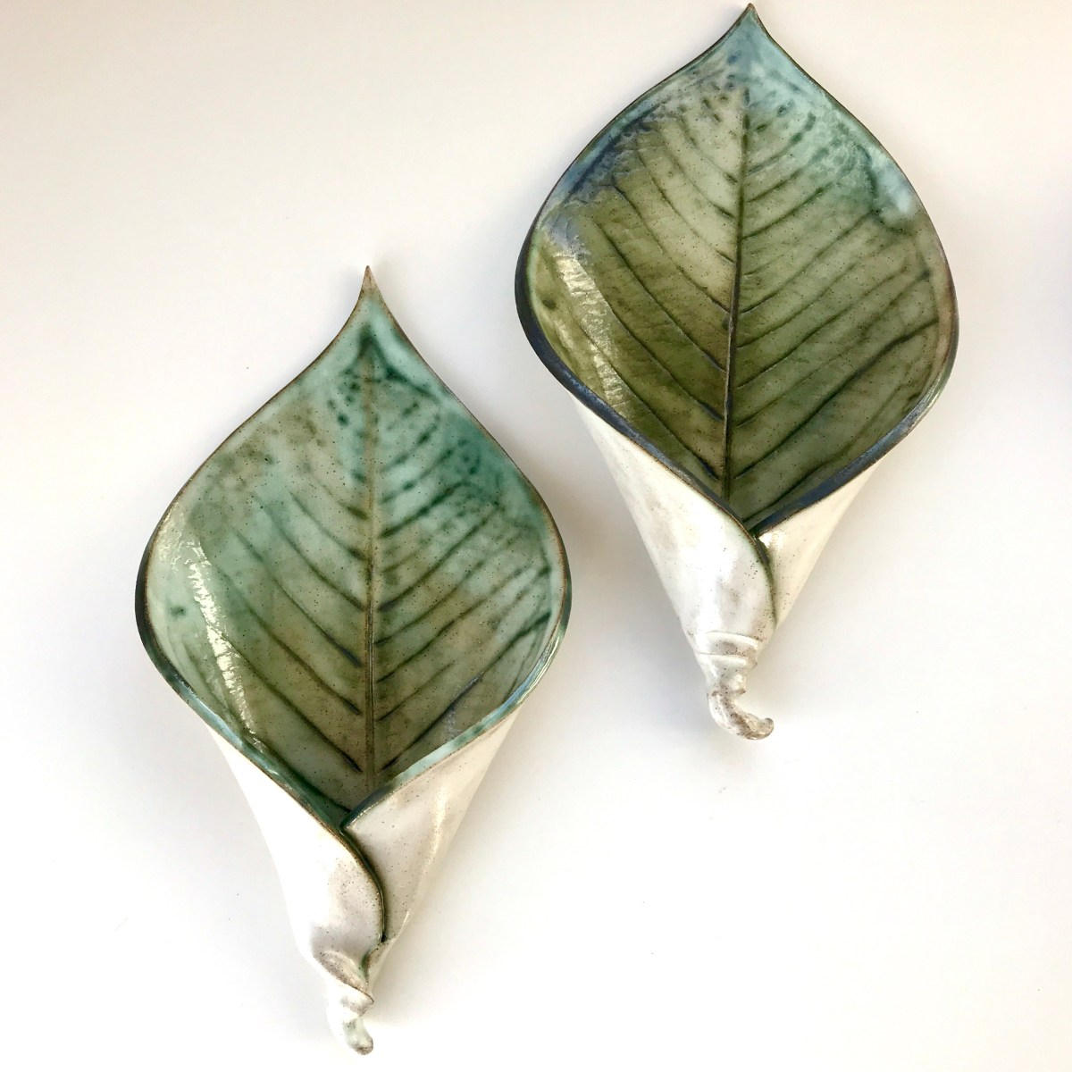 Pair of Lily Leaf Wall Planters by Sonya Ceramic Art