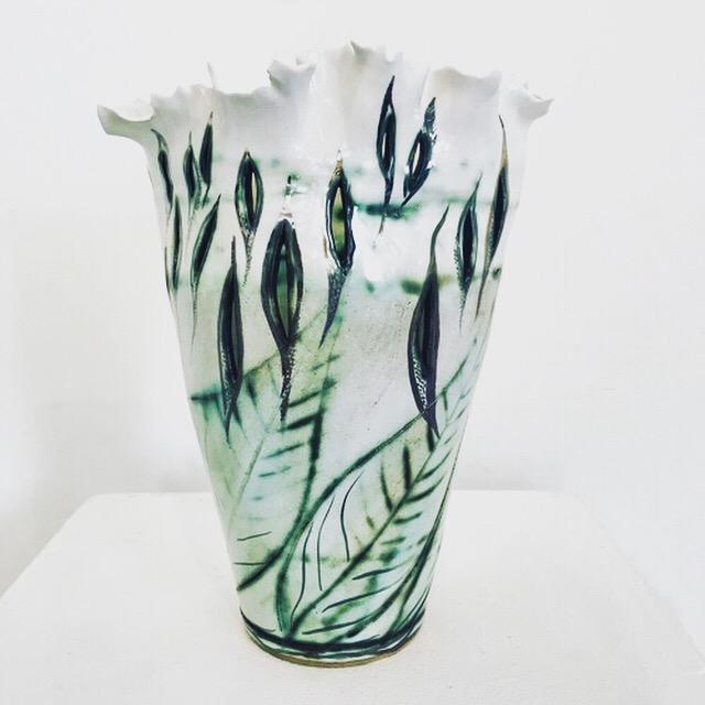 Porcelain Leaf Transition Vase by Sonya Ceramic Art. Bespoke Ceramics for your Home.