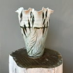 Small Leaf Vase 'Impressions' by Sonya Ceramic Art