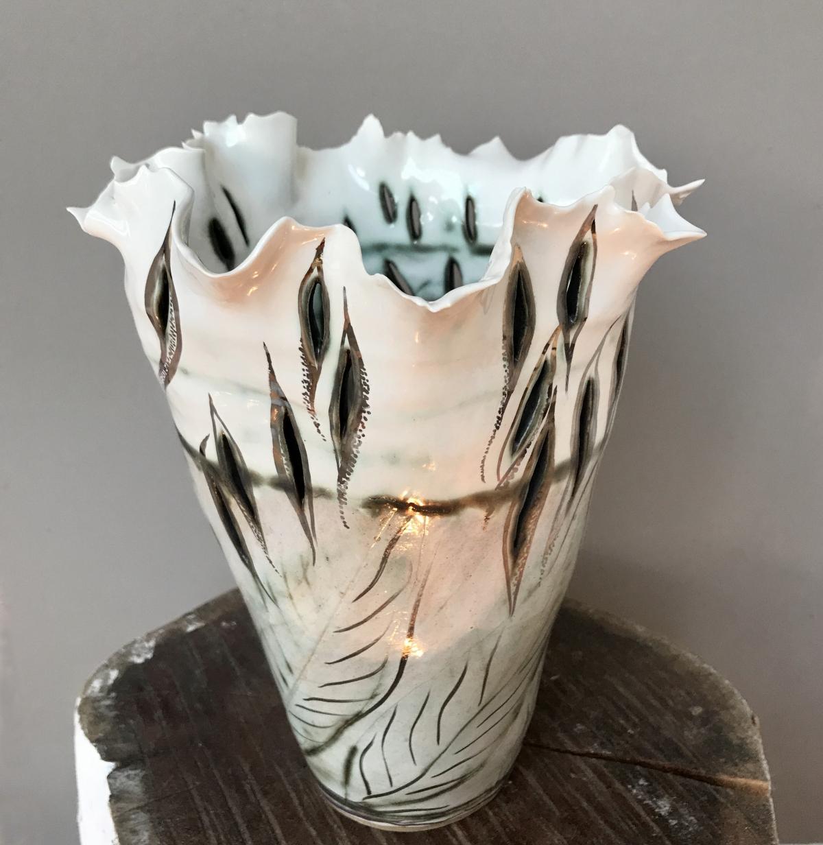 Porcelain Vase 'Leaf Transitions' by Sonya Ceramic Art