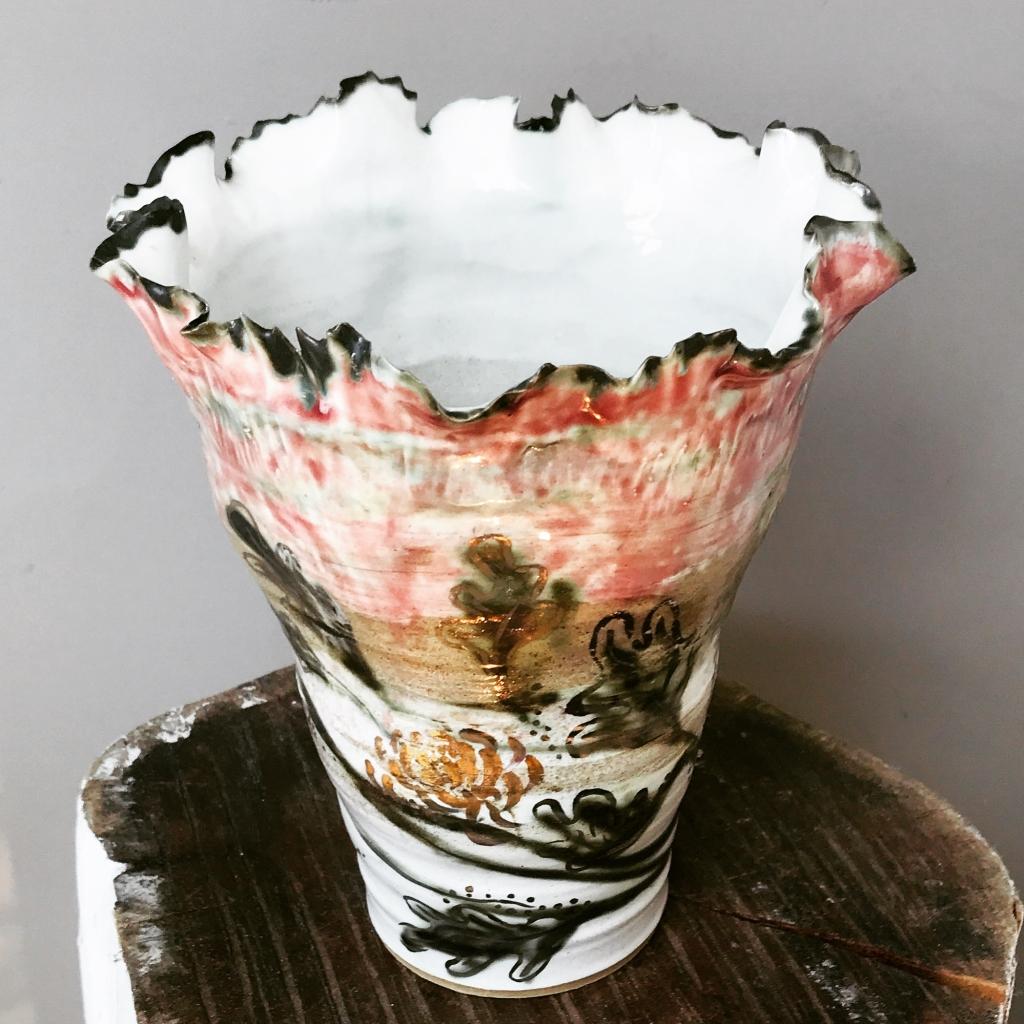 Leaf Vase 'Huahui' by Sonya Ceramic Art showing ripple rim and lustre detail. Bespoke Ceramics for your home.
