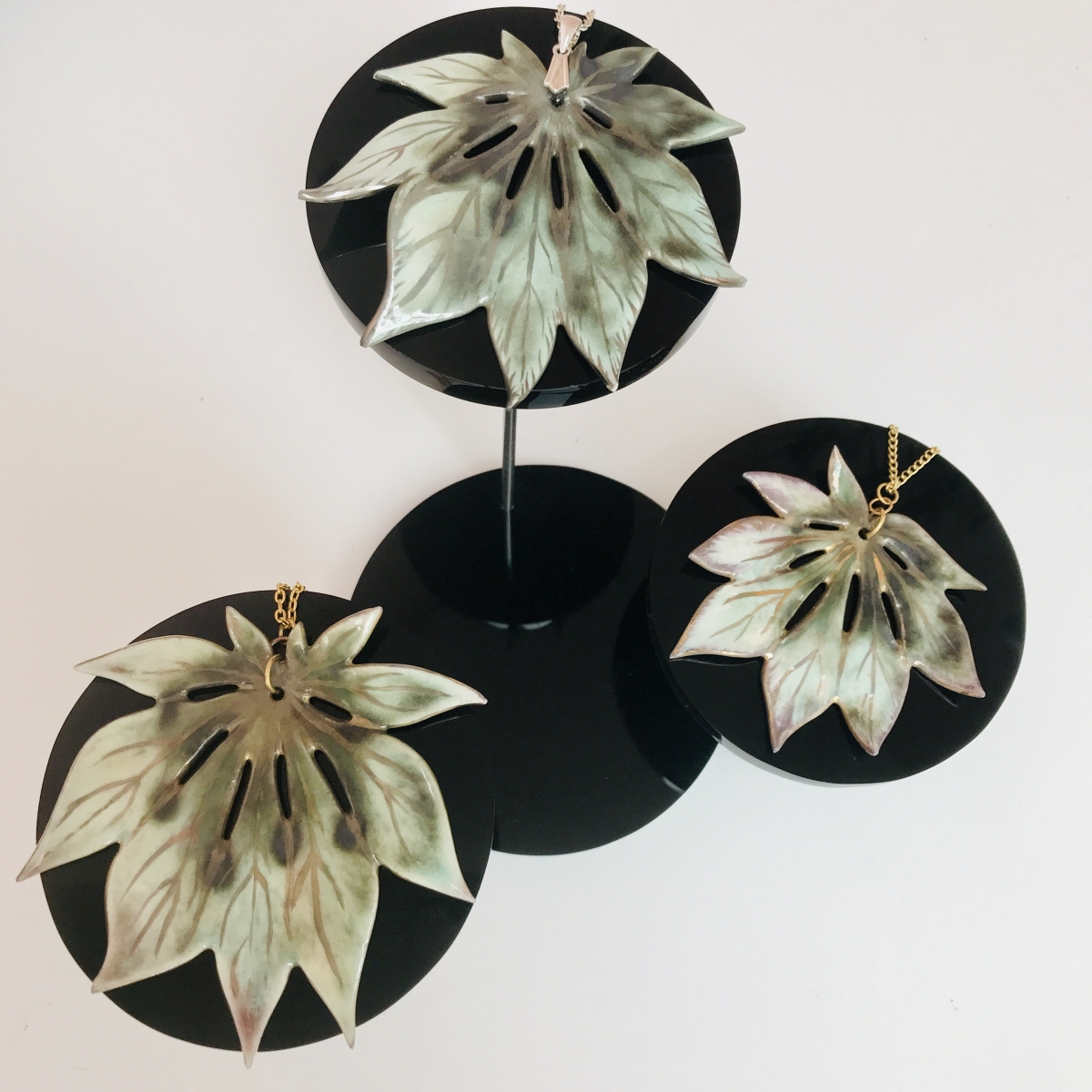Maple Leaf Pendants by Sonya Ceramic Art 'Ceramics Inspired By Nature' made using the impression from real acer japonica leaves
