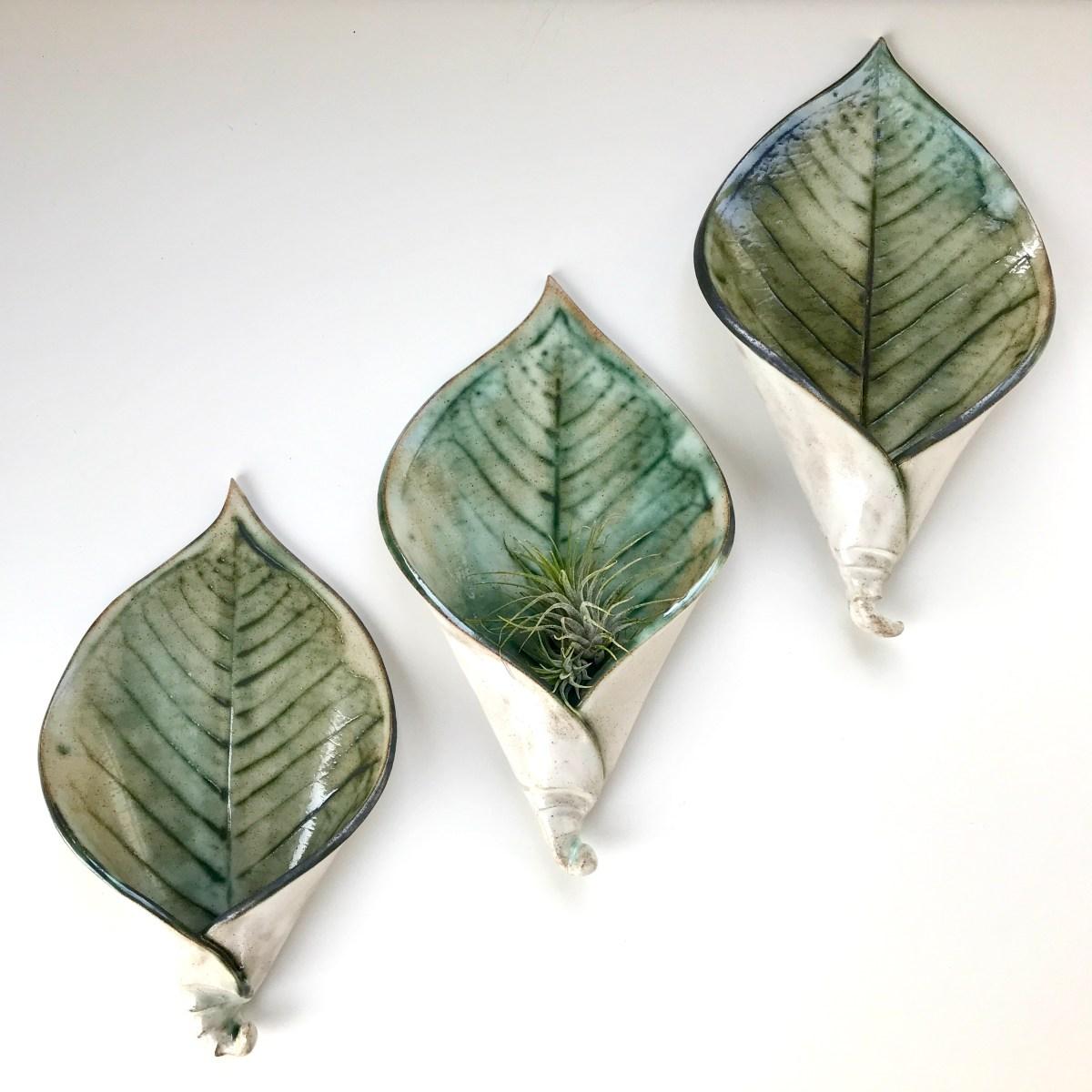 Trio of Lily Leaf Wall Planters by Sonya Ceramic Art