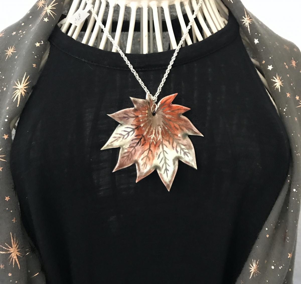 Acer Vitifolium Leaf Pendant by Sonya Ceramic Art
