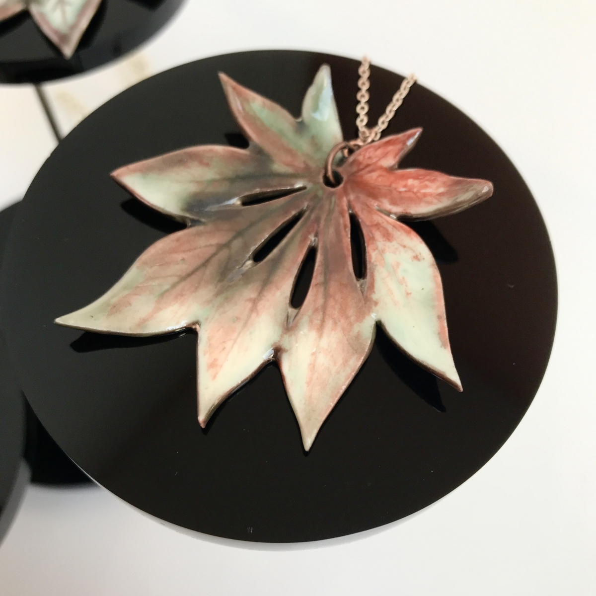 Aconitifolium Leaf Pendant by Sonya Ceramic Art