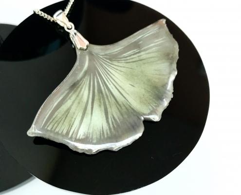 Ginkgo Pendant by Sonya Ceramic Art (Leaf from Bristol Botanical Gardens)