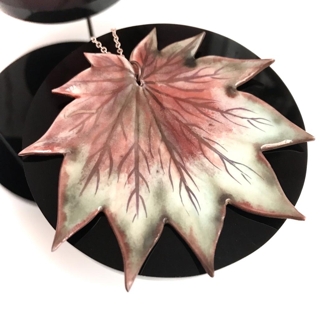 Maple Leaf Pendant by Sonya Ceramic Art