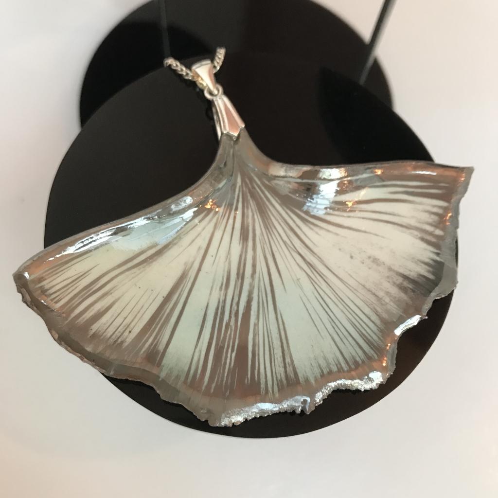 Porcelain Gingko Leaf Feature Pendnant by Sonya Ceramic Art
