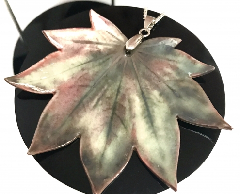 Early Autumn Vitifolium Maple Leaf Pendant by Ceramics Inspired by Nature