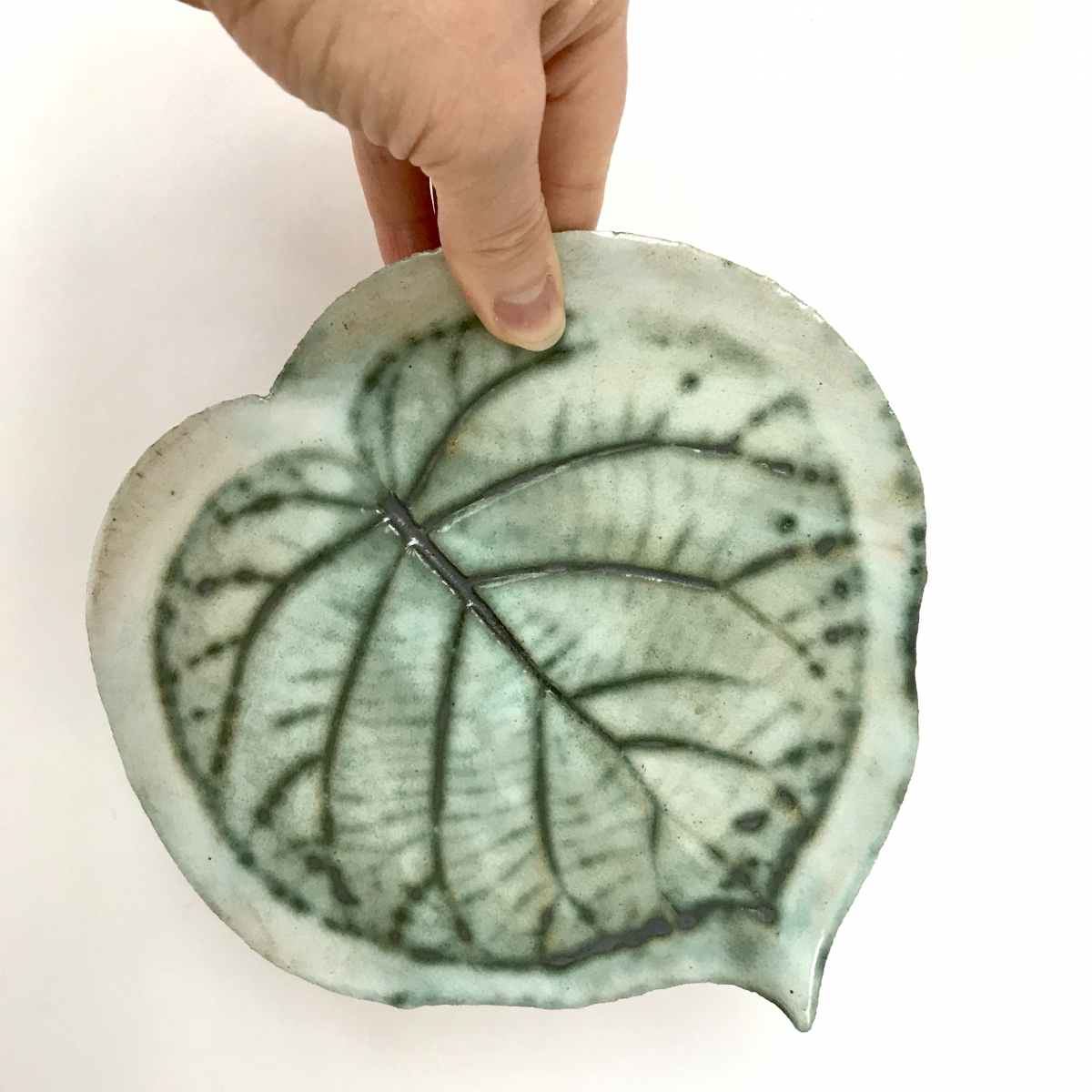Kiwi Leaf Side Plate Detail by Sonya Ceramic Art