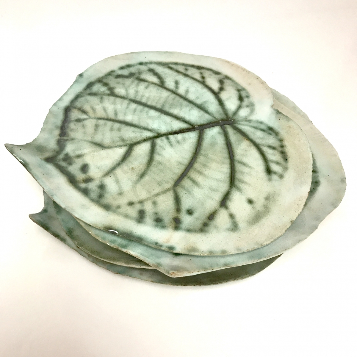 Kiwi Leaf Side Plate Stack by Sonya Ceramic Art