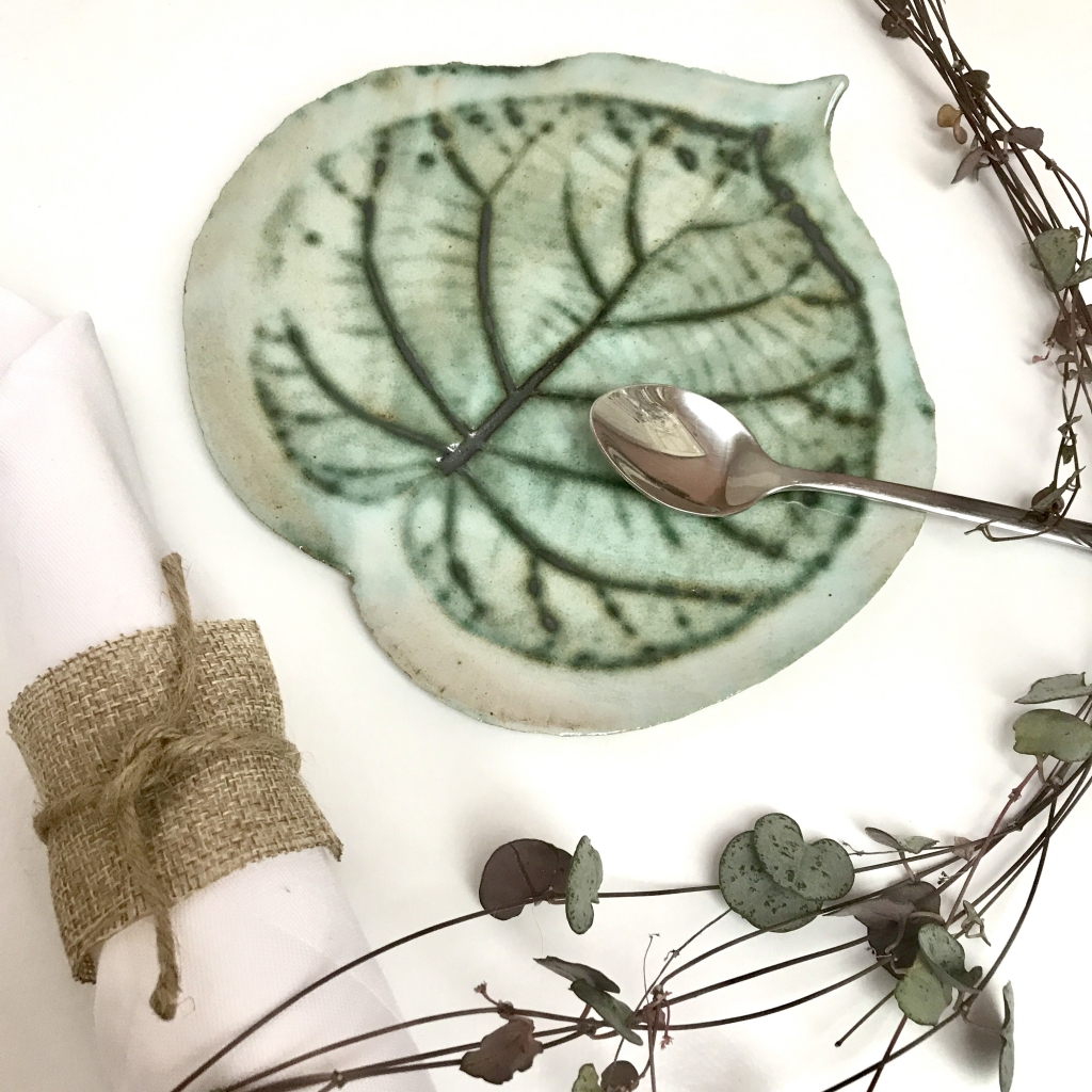 Kiwi Leaf Side Plate by Sonya Ceramic Art
