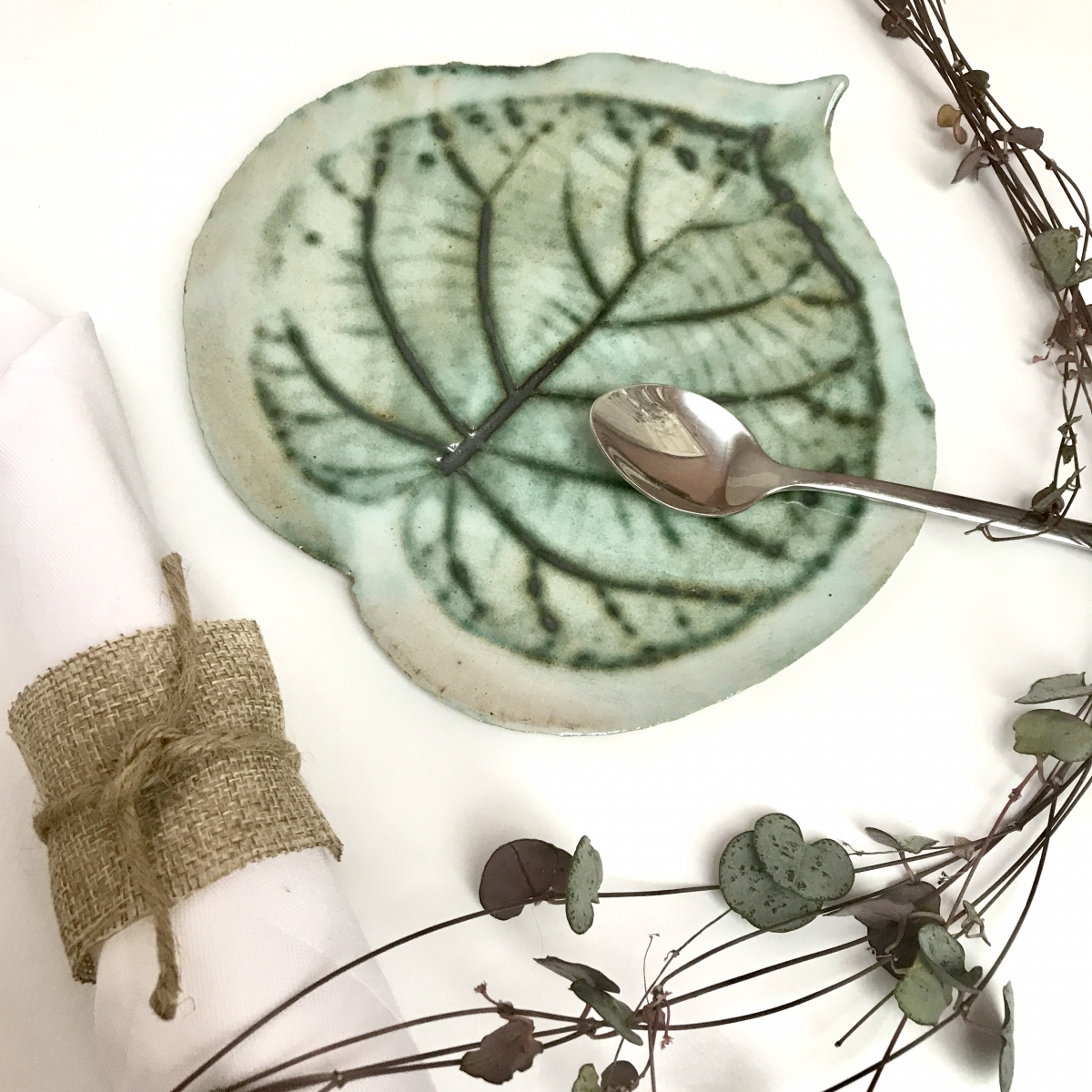 Kiwi Leaf Side Plate by Sonya Ceramic Art