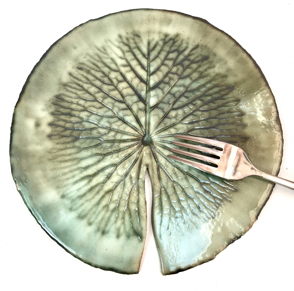 Flat Rim Pond Lily Plate by Sonya Ceramic Art