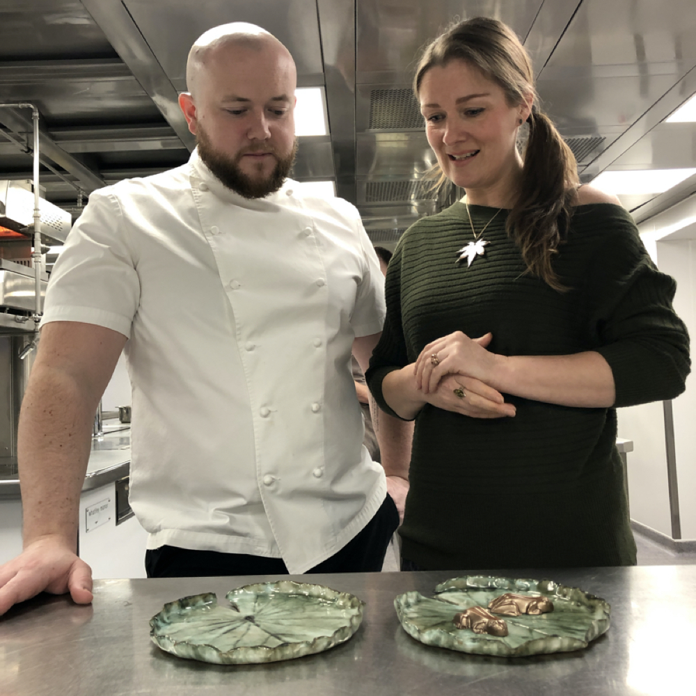 Niall Keating and Sonya Wilkins Great British Menu Pond Lily Dishes made by Sonya Ceramic Art