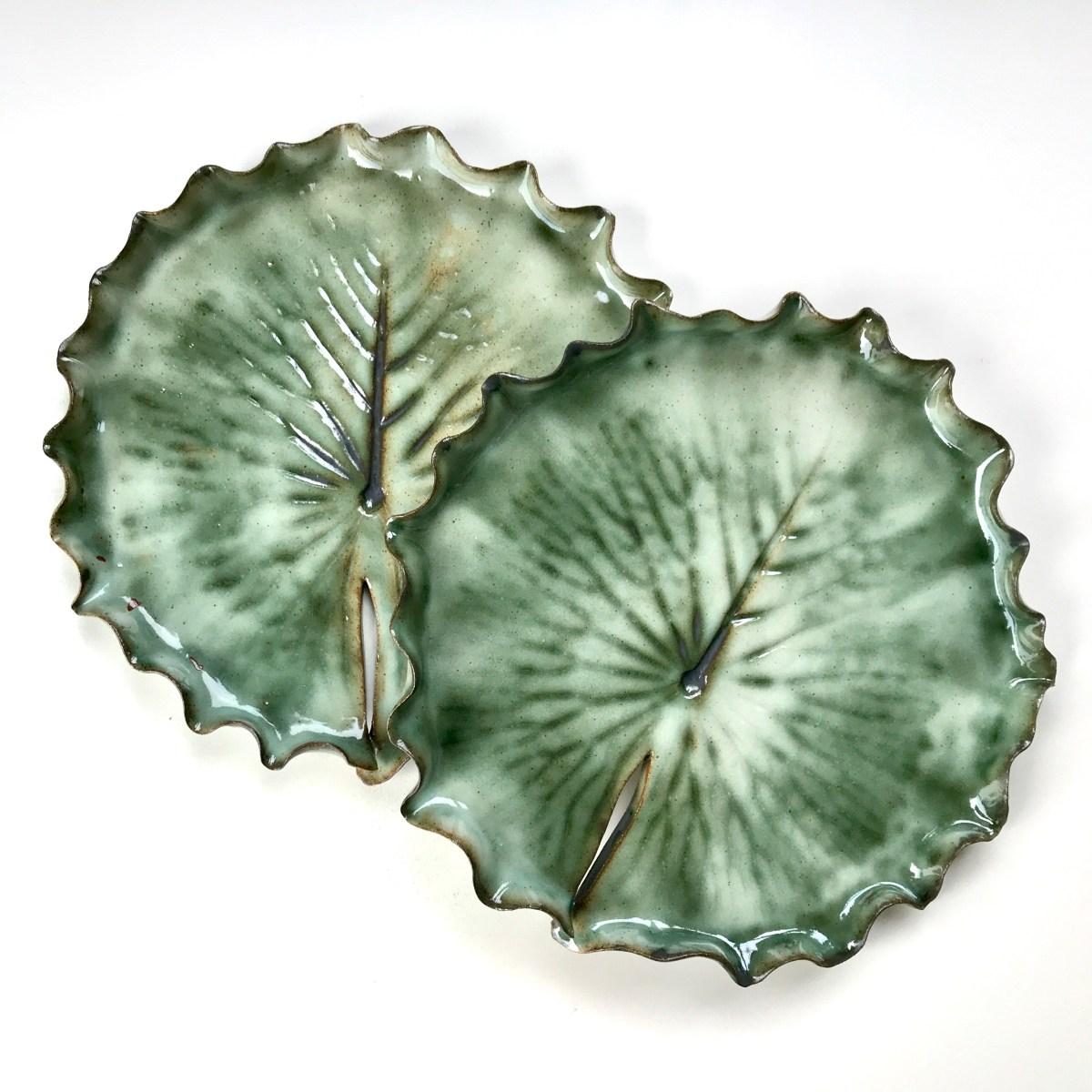 Pair of Pond Lily Leaf Dessert Dishes by Sonya Ceramic Art