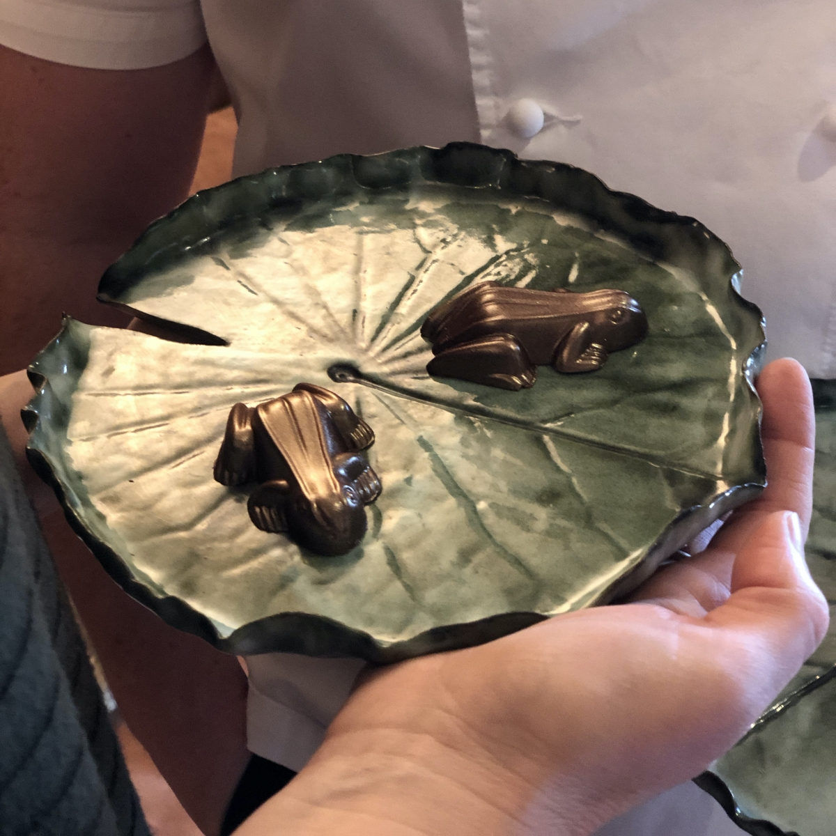 Pond Lily Dishes by Sonya Ceramic Art and Chocolate Frogs by Chef Niall Keating