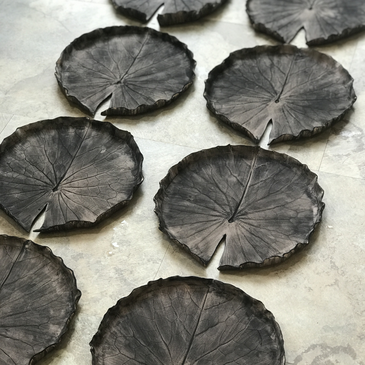Pond Lily Dishes by Sonya Ceramic Art Showing Oxide Stage of Glazing