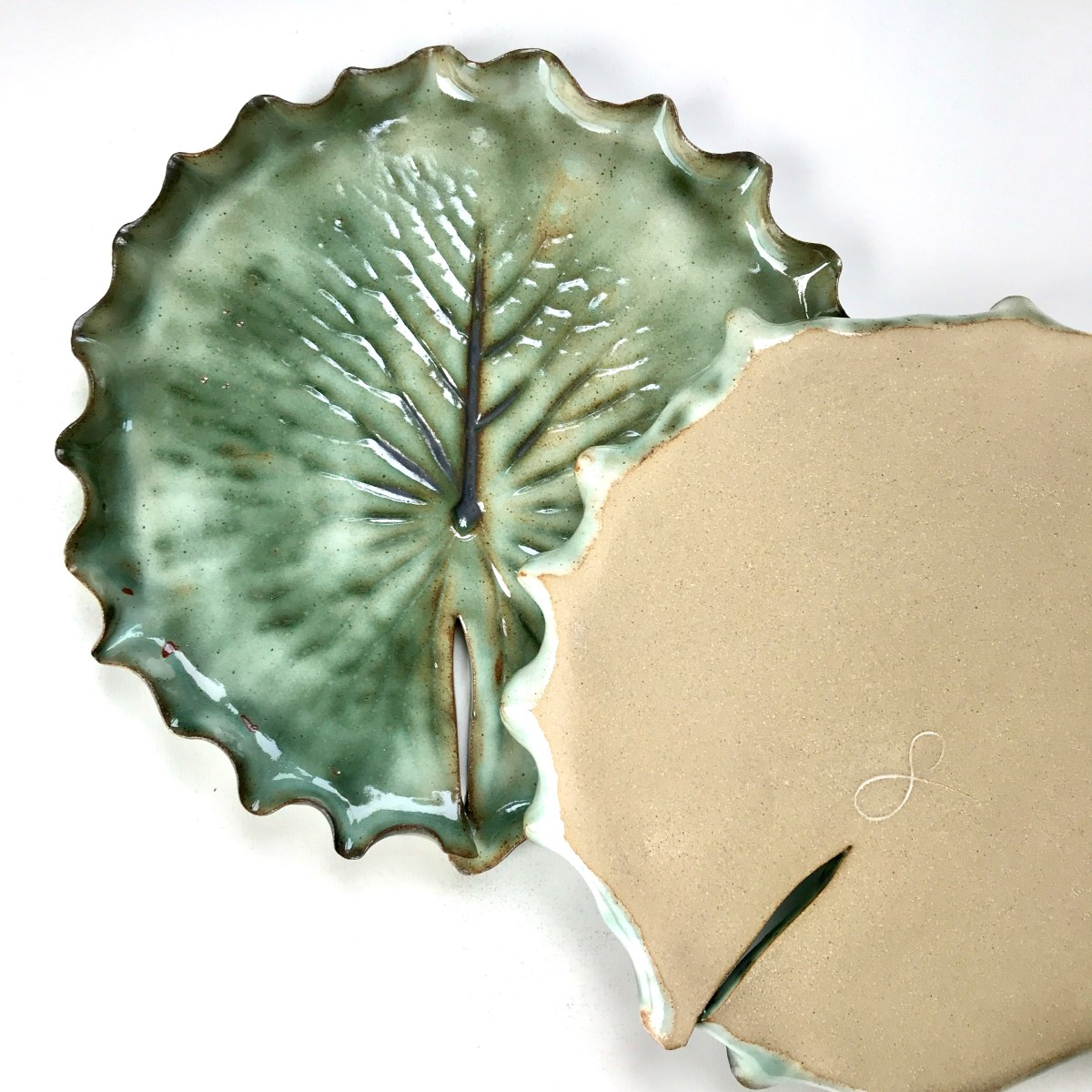 Pond Lily Leaf Dessert Dishes (Top & Base View)
