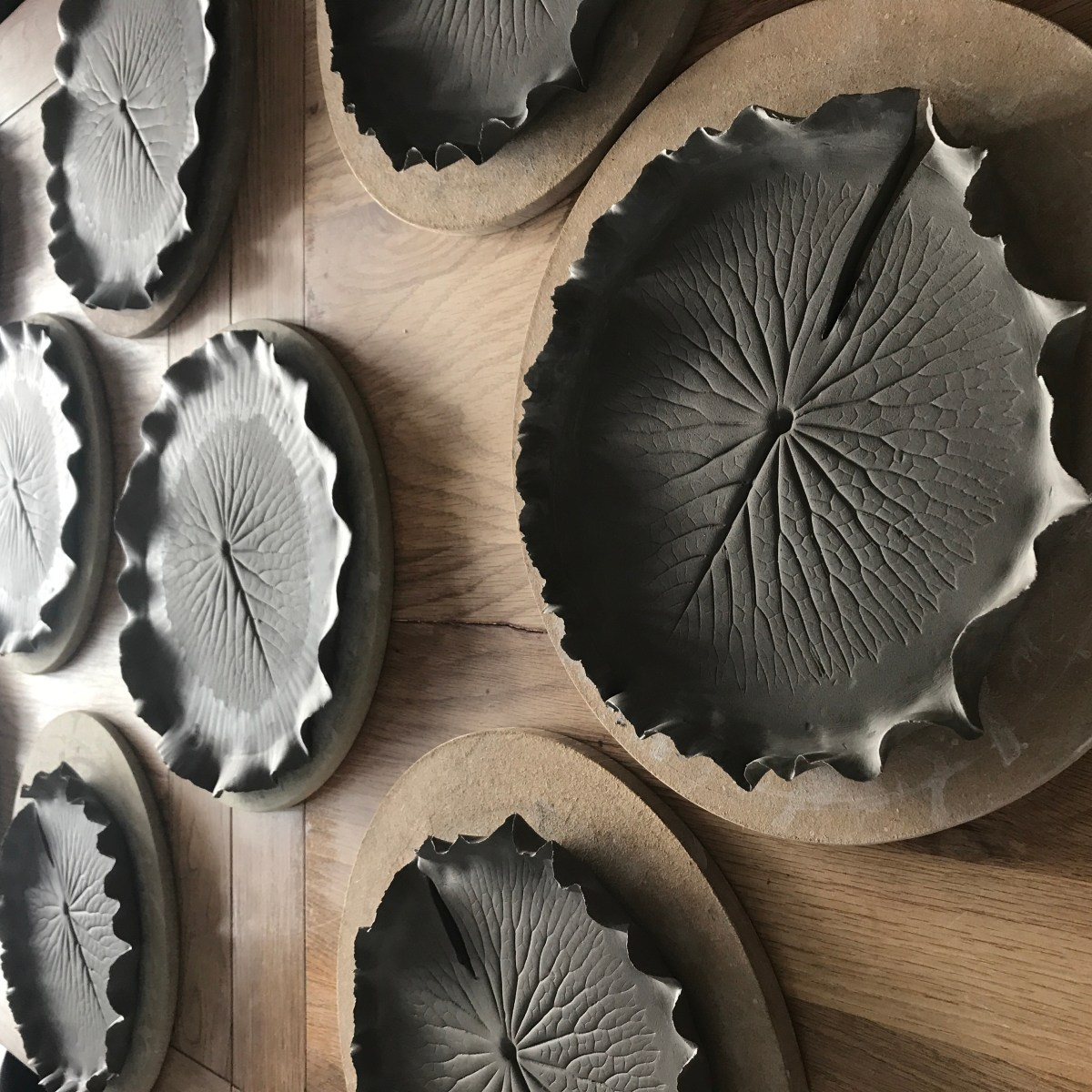 Pond Lily Leaf Dessert Dishes by Sonya Ceramic Art 'In The Making'