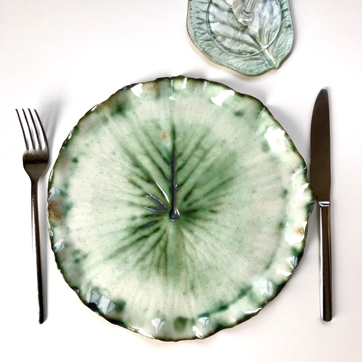 Pond Lily Leaf Dinner Plate by Sonya Ceramic Art 'Ready for Dinner'