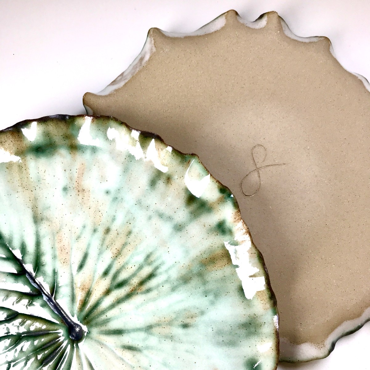Pond Lily Leaf Dinner Plate with Base View by Sonya Ceramic Art