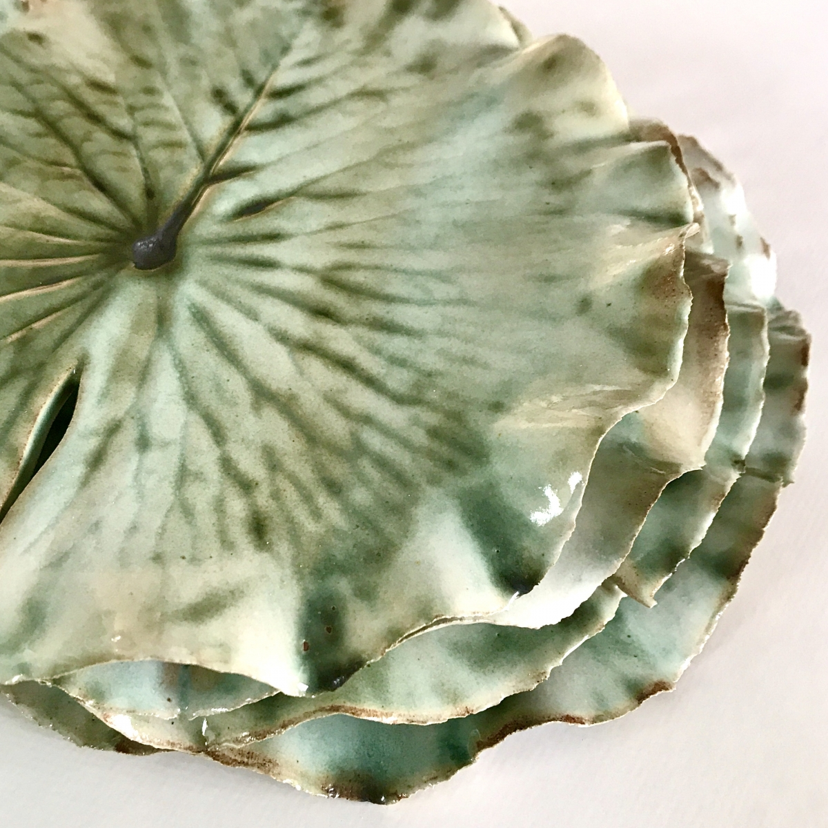 Pond Lily Leaf Side Plate Stack by Sonya Wilkins