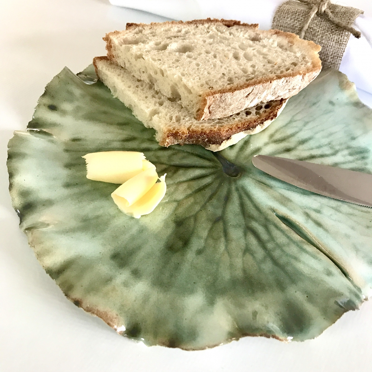 Pond Lily Leaf Side Plate by Ceramics Inspired by Nature