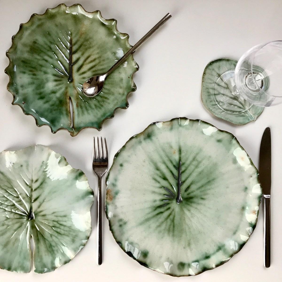 Pond Lily Leaf Tableware Set by Sonya Ceramic Art