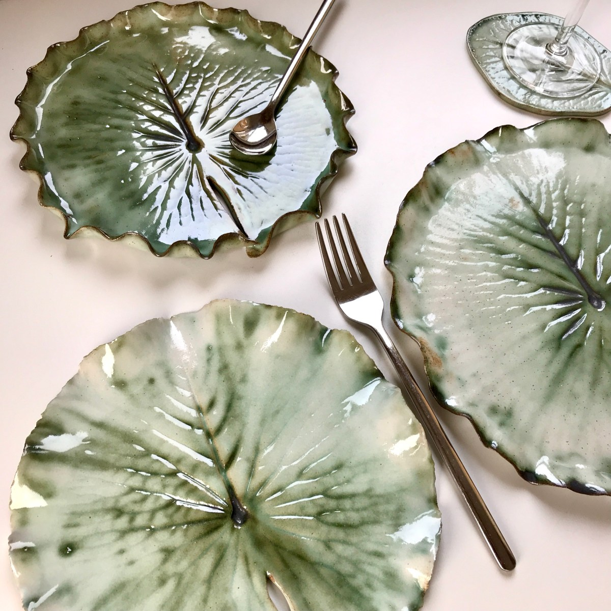 Pond Lily Leaf Tableware by Sonya Ceramic Art (Side Plate in Close View)