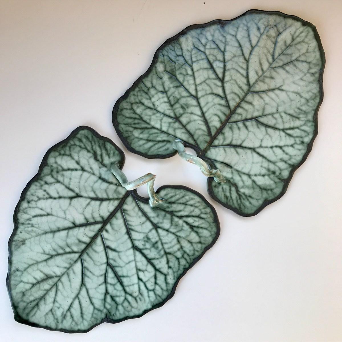 Pair of Burdock Leaf Sharing Platters by Sonya Ceramic Art