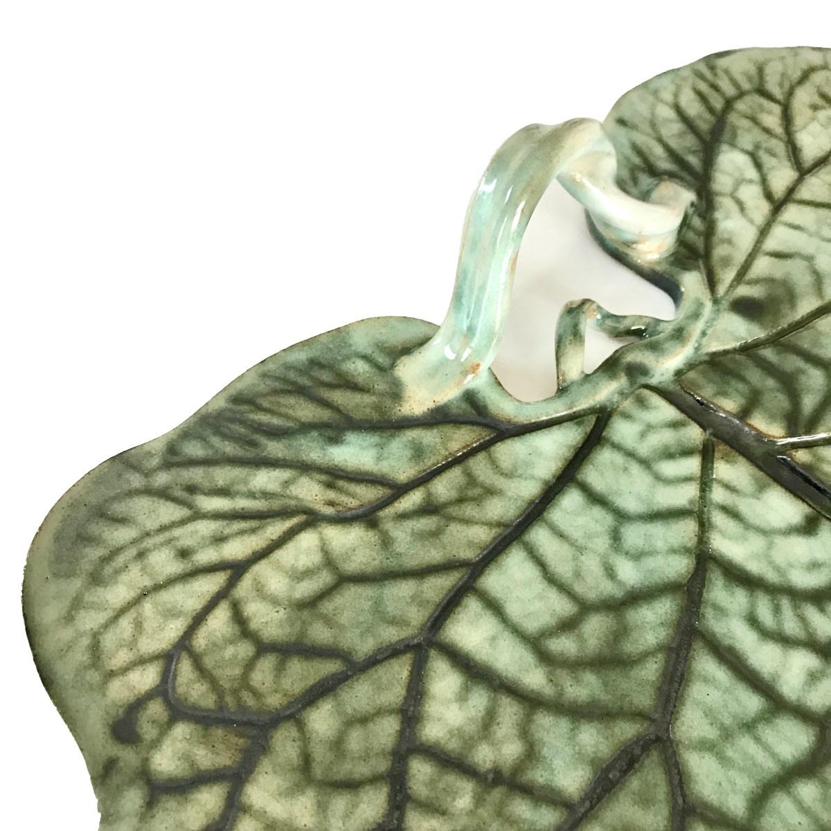 Burdock Leaf Platter Vine Handle Close Up