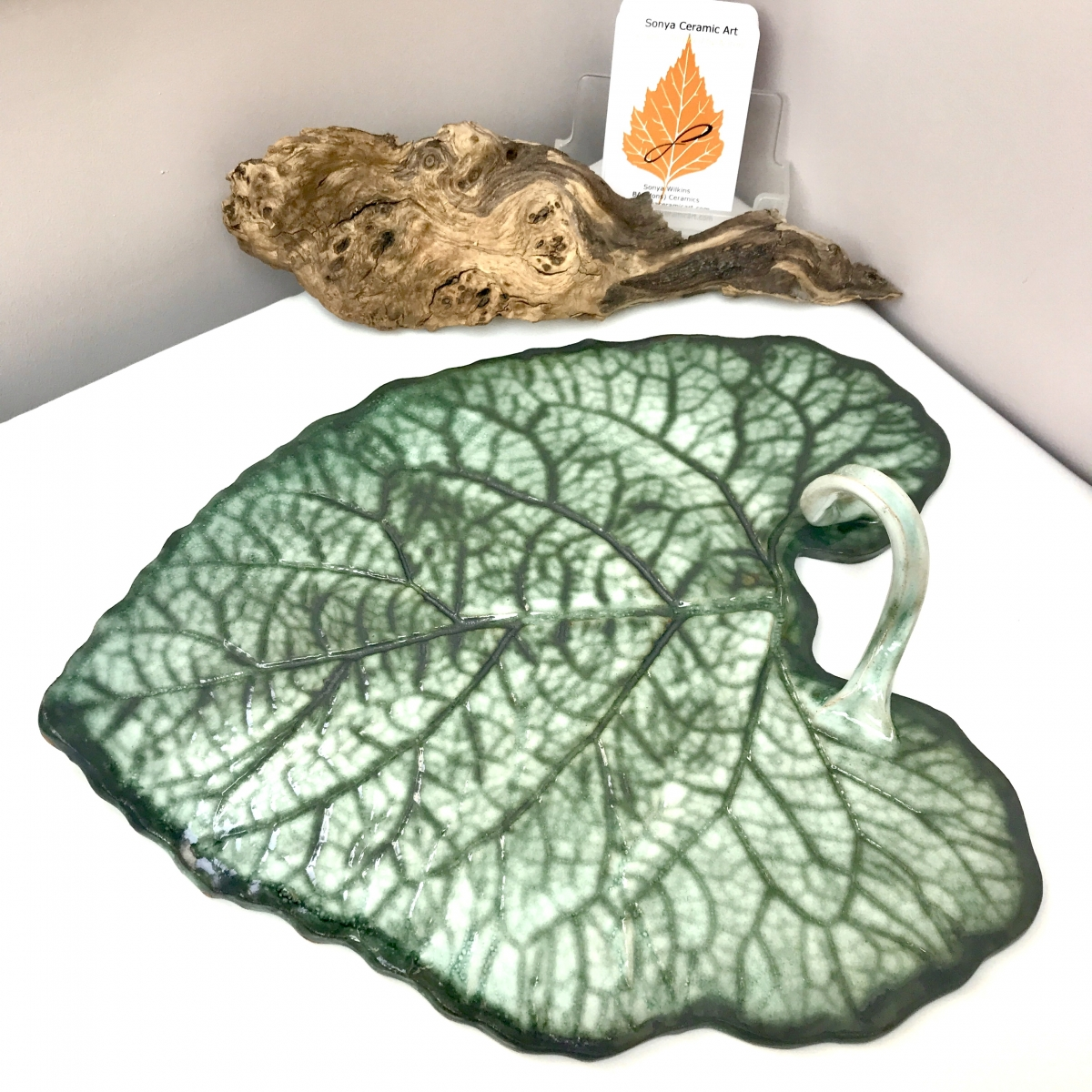 Burdock Leaf Sharing Platter by Ceramics Inspired By Nature with Twisted Vine Handle