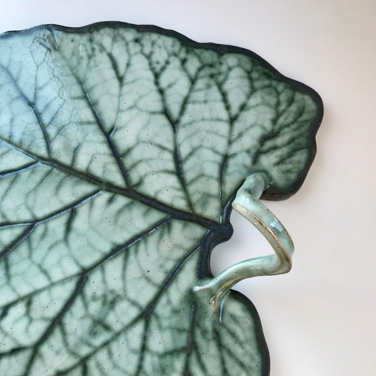 Burdock Leaf Sharing Platter by Sonya Ceramic Art (Detail View 1)