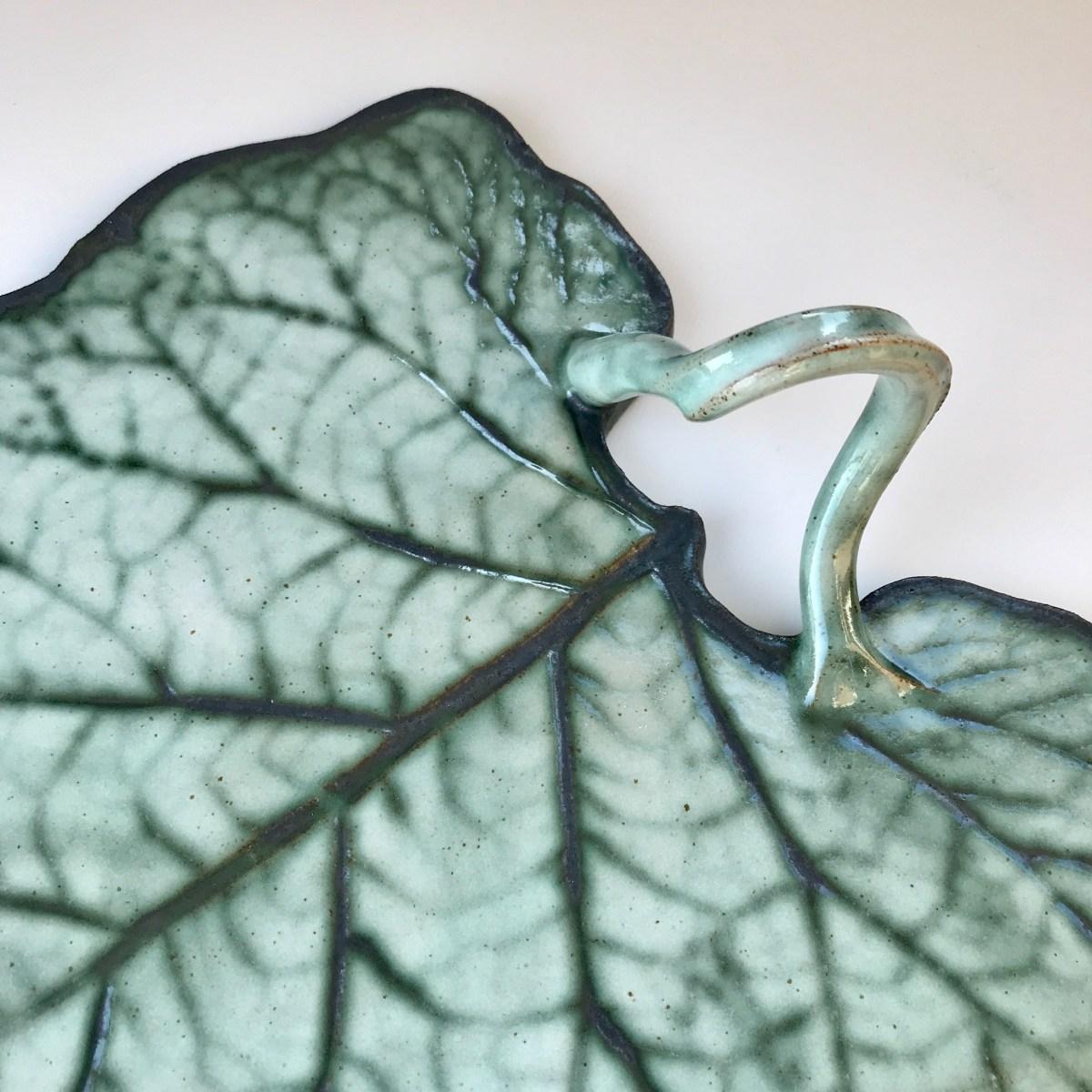 Burdock Leaf Sharing Platter by Sonya Ceramic Art (Detail View 2)