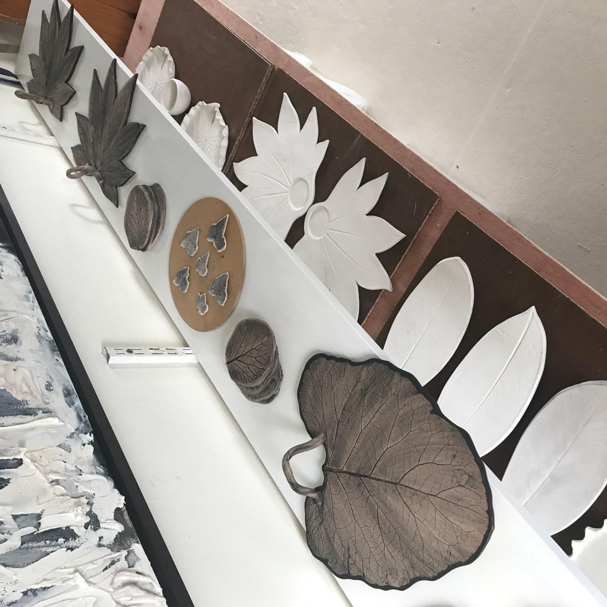 Burdock Leaf Sharing Platter by Sonya Ceramic Art 'Oxide Stage'