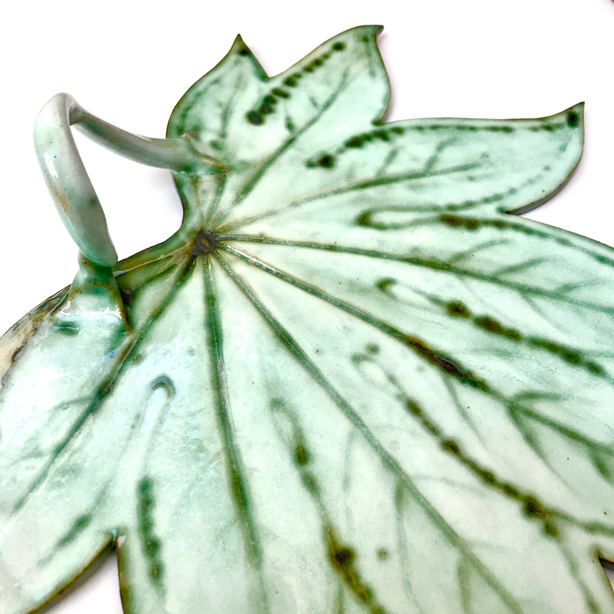 Fatsia Leaf Sharing Platter Side Angle By Ceramics Inspired By Nature