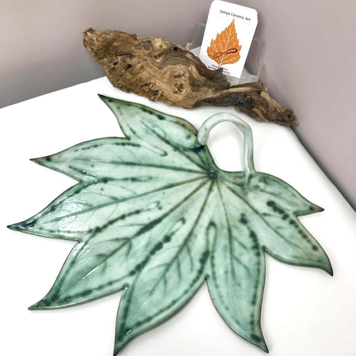 Fatsia Leaf Sharing Platter by Sonya Ceramic Art
