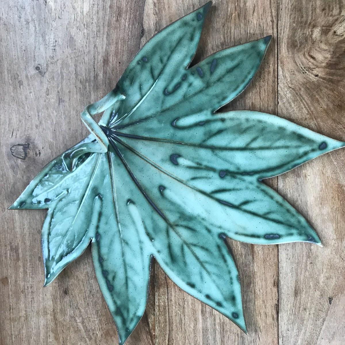 Fatsia Leaf Sharing Platter by Sonya Ceramic Art - Ceramics Inspired by Nature