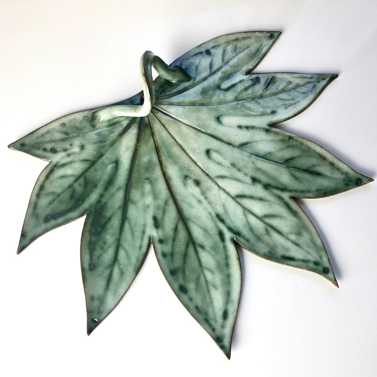 Fatsia Leaf Sharing Platter by Sonya Ceramic Art (Example 1)