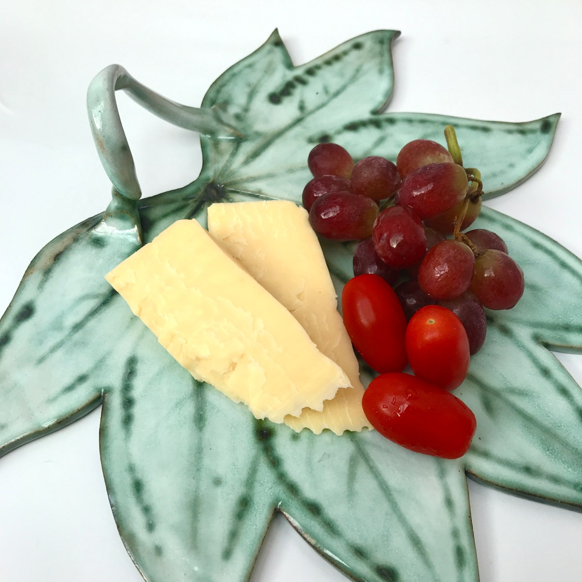 Fatsia Leaf Sharing Platter for Cheeses by Sonya Ceramic Art