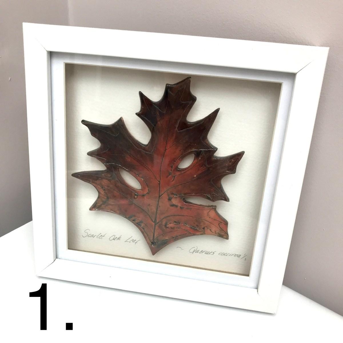 Framed Leaf Picture Scarlet Oak by Sonya Ceramic Art