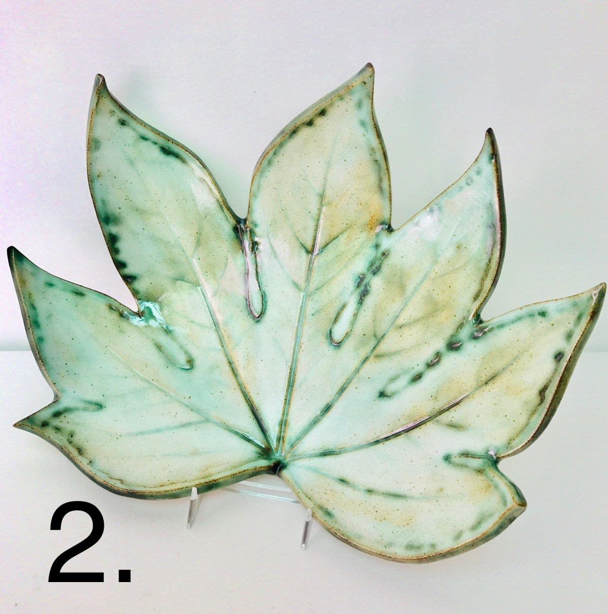 Green Fatsia Leaf Fruit Bowl by Sonya Wilkins Ceramics Inspired By Nature