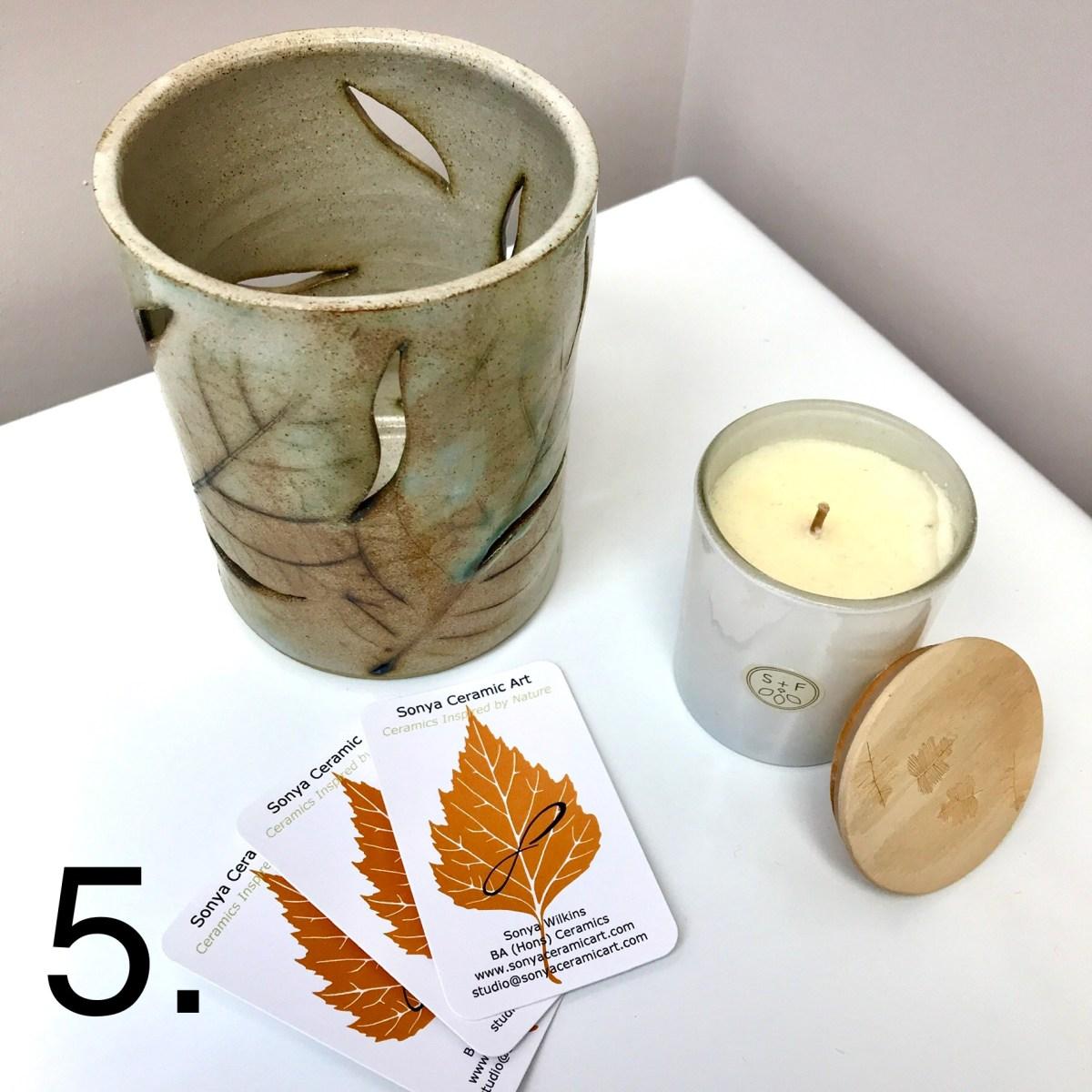 Leaf Candle Lantern By Sonya Ceramic Art