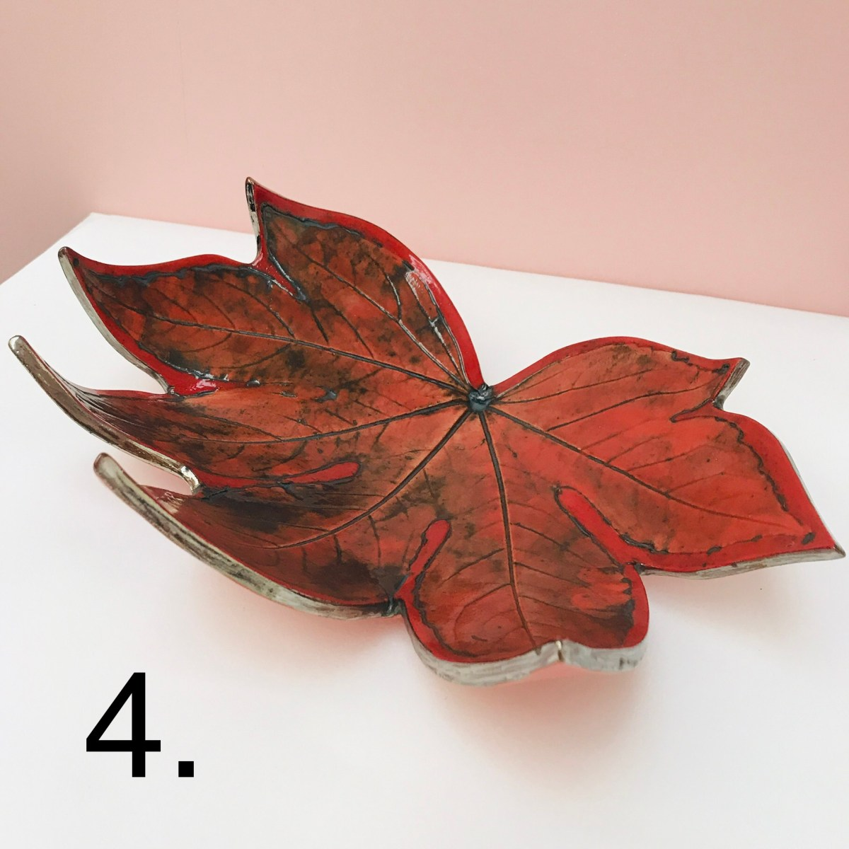 Red Fatsia Fruit Bowl by Sonya Wilkins, Ceramics Inspired By Nature
