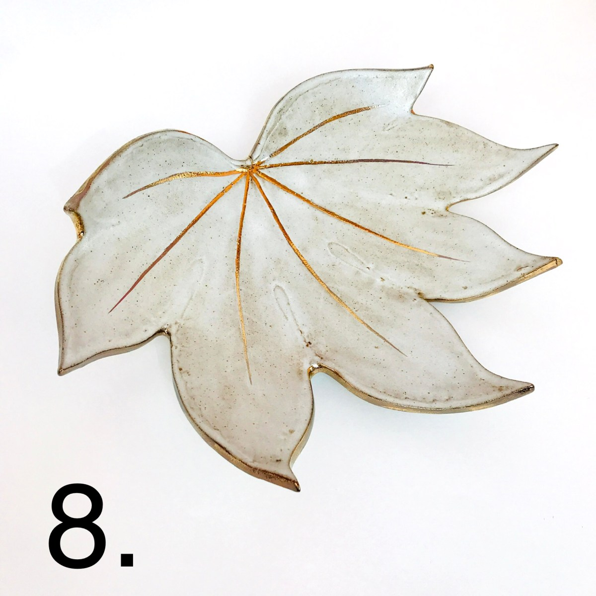 White Fatsia Fruit Bowl by Sonya Ceramic Art