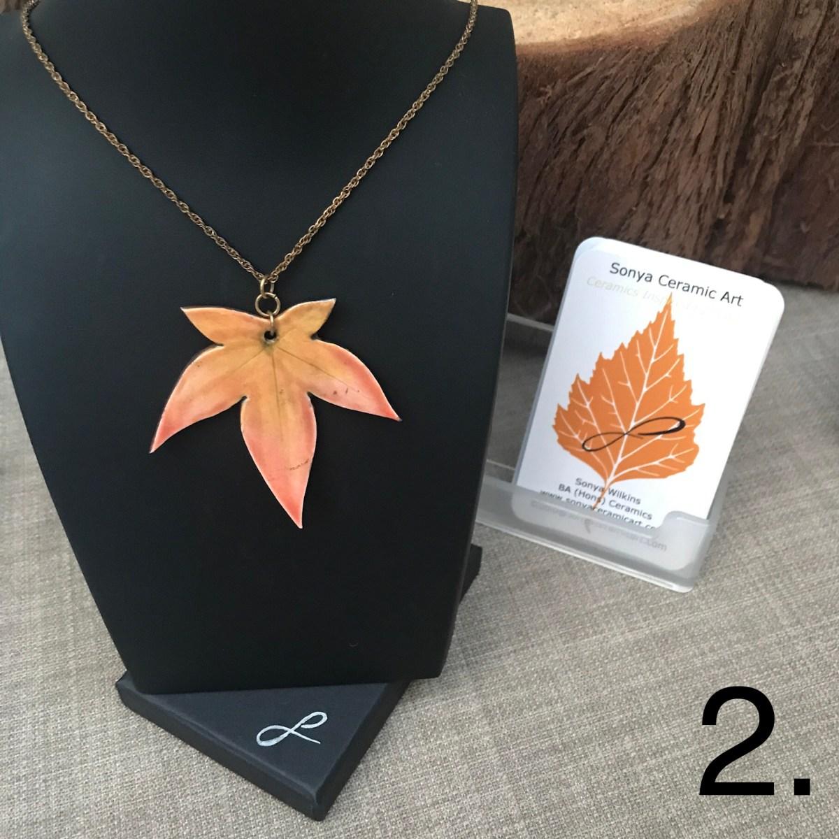 Coral Maple Leaf Pendant by Sonya Ceramic Art